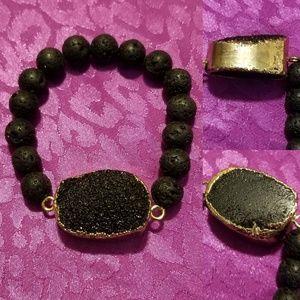 black pumice and druzy bracelet